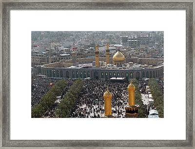 Shia Muslims Around The Husayn Mosque Framed Print by Everett