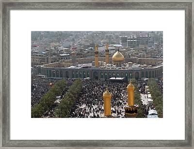 Shia Muslims Around The Husayn Mosque Framed Print