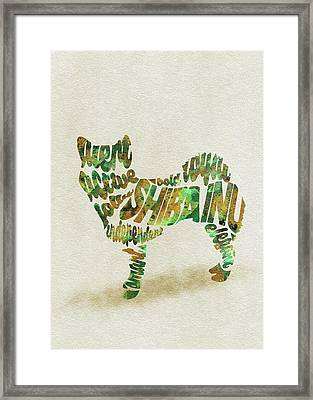Framed Print featuring the painting Shiba Inu Watercolor Painting / Typographic Art by Inspirowl Design