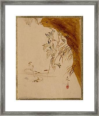 Shibata Zeshin    Overhanging Cliff Framed Print