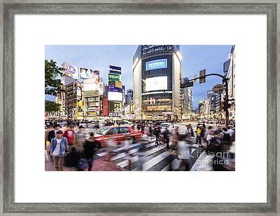 Shibuya Crossing At Night In Tokyo Framed Print