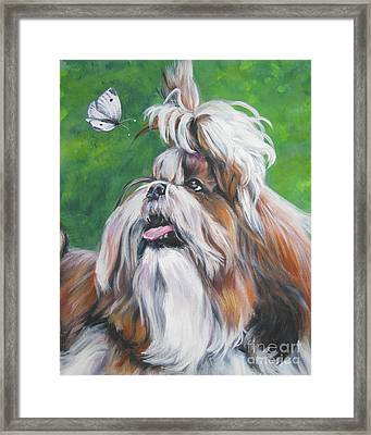 Shih Tzu And Butterfly Framed Print by Lee Ann Shepard