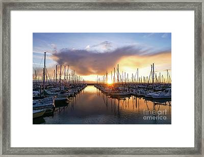 Shilshole Marina Sunset Dramatic Clouds Framed Print by Mike Reid