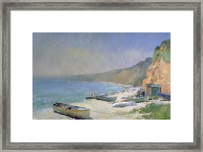 Shimmering Beach - Budleigh Salterton Framed Print by Trevor Chamberlain