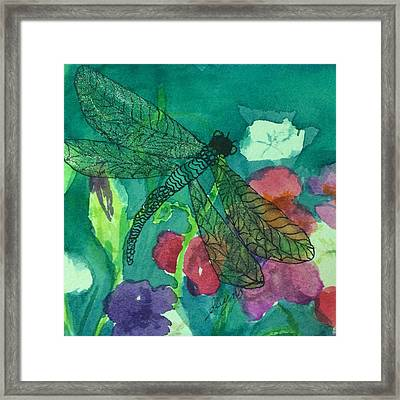 Shimmering Dragonfly W Sweetpeas Square Crop Framed Print