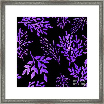 Shimmering Purple Leaves Nature Pattern Framed Print by Tina Lavoie