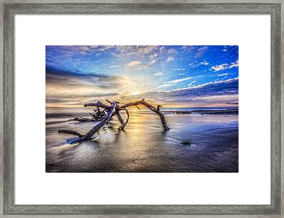 Shimmering Sands Framed Print by Debra and Dave Vanderlaan