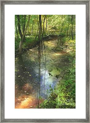 Framed Print featuring the painting Shimmering Stream by Sergey Zhiboedov