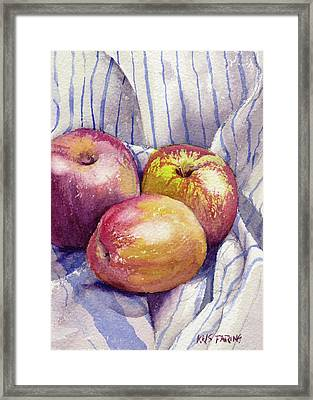 Shine On 3 Apples Framed Print by Kris Parins