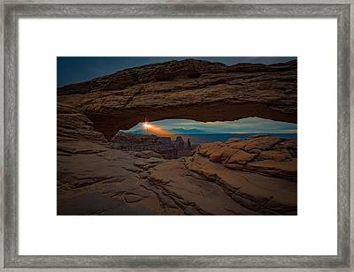 Shining Down On Mesa Arch Framed Print by Rick Berk