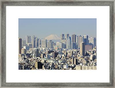 Shinjuku Skyline With Mt Fuji Framed Print by Jeremy Woodhouse