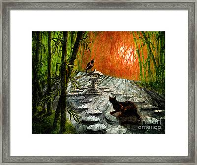 Shinto Lantern At Dusk Framed Print by Laura Iverson