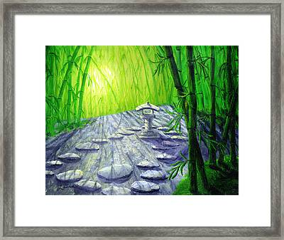 Shinto Lantern In Bamboo Forest Framed Print