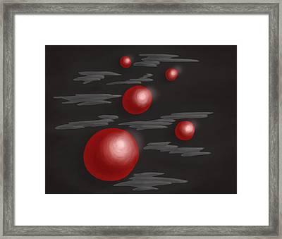 Shiny Red Planets Framed Print by Boriana Giormova