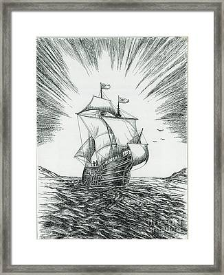 Ship At Daybreak Framed Print by Samuel Showman