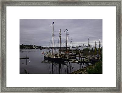Ship At Dock. Framed Print by Dennis Curry