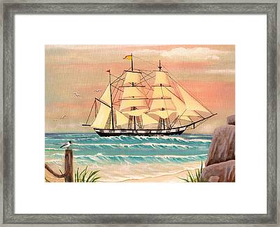 Ship At Sea Framed Print by Eileen Blair