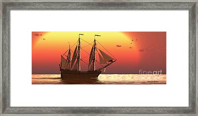 Ship At Sunset Framed Print by Corey Ford