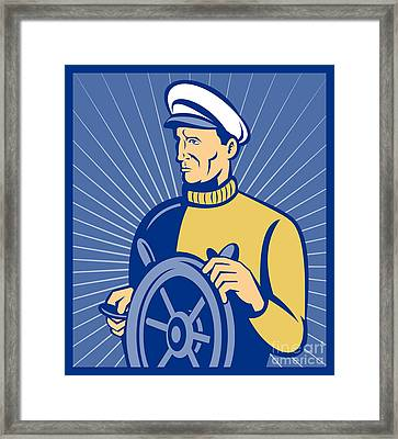 Ship Captain At The Helm  Framed Print by Aloysius Patrimonio