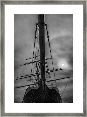Ship Clouds And Sun Framed Print