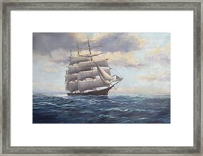 Ship Coming Out Of Morning Fog Framed Print