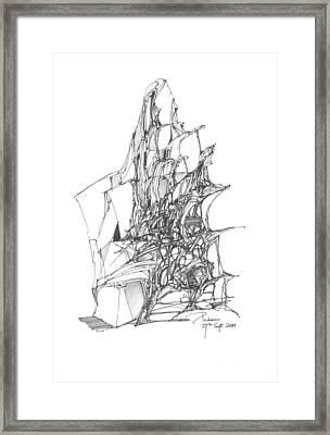 Ship Embedded In Rocks Framed Print by Padamvir Singh