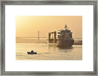 Ship In Harbor Framed Print