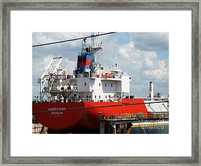 Ship In Tampa Harbor Framed Print by Rose  Hill