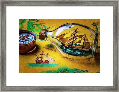 Ship In The Bottle Framed Print