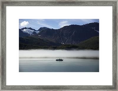 Ship In The Fog Framed Print