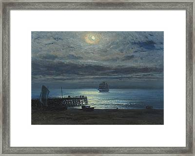 Ship On A Moonlit Sea Framed Print by MotionAge Designs