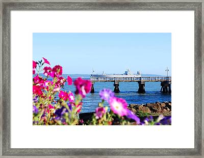 Ship On The Pier Framed Print by Sergey  Nassyrov