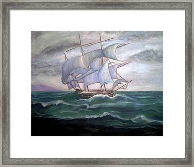 Ship Out To Sea Framed Print by Manuel Sanchez
