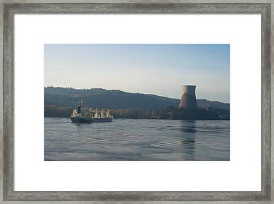 Ship Passing The Now Demolished Trojan Nuclear Plant Framed Print by Alan Espasandin