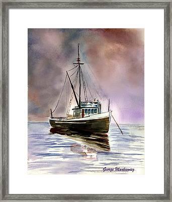 Ship Stormy Weather Framed Print by George Markiewicz