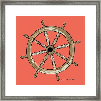 Ship Wheel Framed Print by Karl Addison