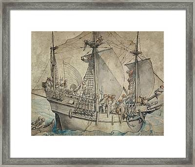 Ship With Revelling Sailors Framed Print by Hans Holbein the Younger