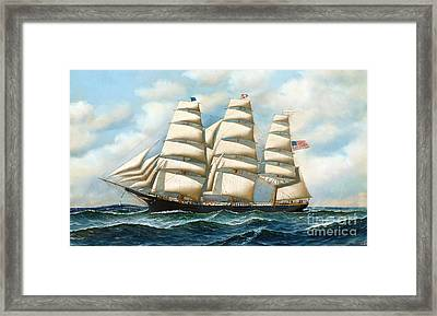 Ship Young America At Sea Framed Print by Pg Reproductions