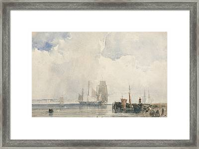 Shipping In An Estuary, Probably Near Quilleboeuf Framed Print by Richard Parkes Bonington