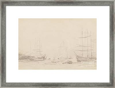 Shipping In Falmouth Harbour Framed Print