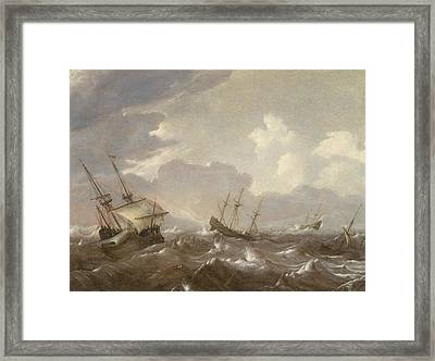 Shipping In The High Seas Framed Print by Pieter the Elder Mulier