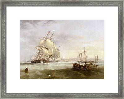 Shipping Off Hartlepool Framed Print by John Wilson Carmichael