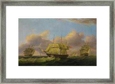 Shipping Off The Eddystone Framed Print by Thomas Luny