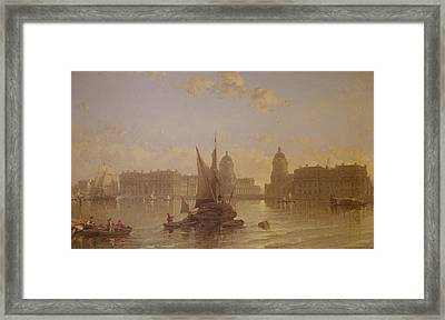 Shipping On The Thames At Greenwich Framed Print by David Roberts