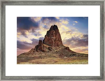 Shiprock Monolith Sunset - Monument Valley - American Southwest Framed Print