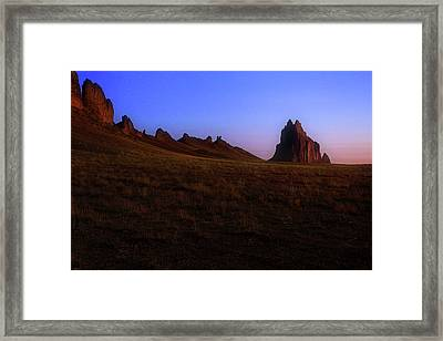 Framed Print featuring the photograph Shiprock Under The Stars - Sunrise - New Mexico - Landscape by Jason Politte