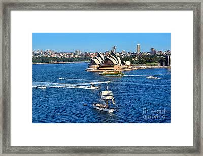 Ships And Boats Passing Opera House Framed Print by Kaye Menner