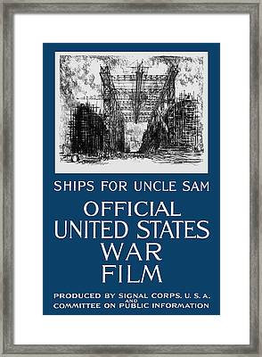 Ships For Uncle Sam - Ww1 Framed Print by War Is Hell Store