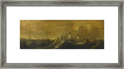 Ships In A Storm Framed Print