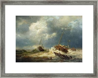 Ships In A Storm On The Dutch Coast Framed Print by Andreas Achenbach
